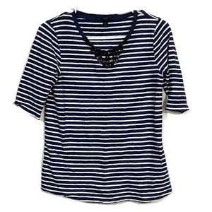 J. Crew Jeweled Neckline Striped Short Sleeve Top